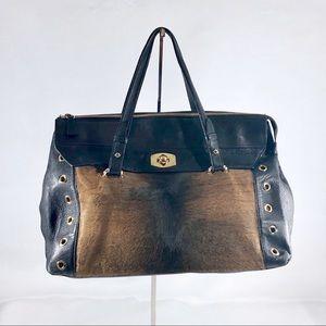FURLA Black Leather Satchel Style Handbag